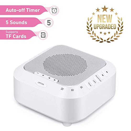 GORAUL Fabroop White Noise Babies Therapy Support TF Card Playback, 5 Relaxing Soothing Rechargeable Sleep Sound Machine for Kids, Tinnitus Sufferer, Light