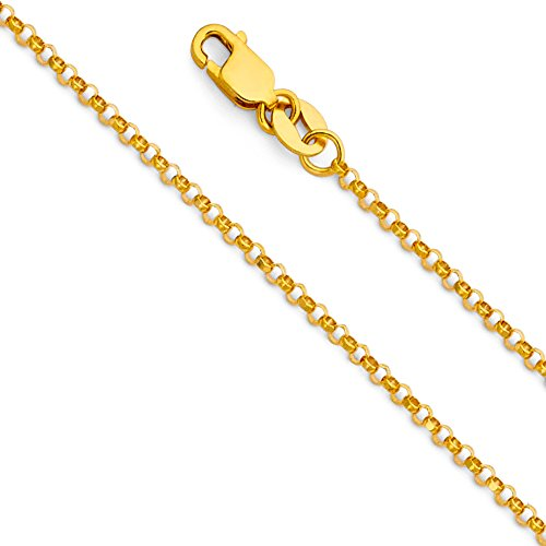 Wellingsale 14k Yellow Gold SOLID 1.6mm Polished Classic Rolo Cable Chain Necklace with Lobster Claw Clasp - (Classic Rolo Chain)