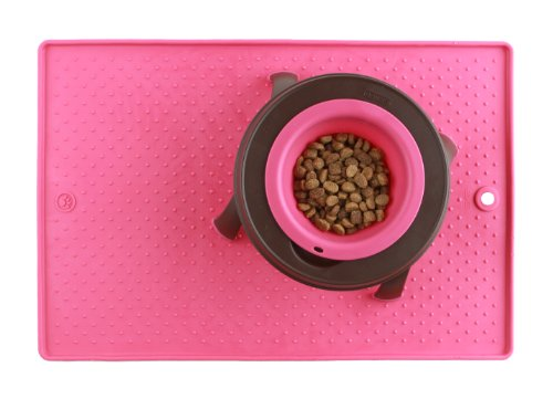 Dexas  Grippmat for Pet Bowls, 13 by 19 inches, Pink by Dexas (Image #1)