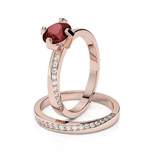 Or Rose 18carats 1CT G-H/VS sertie de diamants ronds Cut Grenat et mariée Bague de fiançailles et ensemble de Agdr-2001