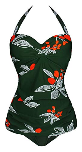 UniSweet Vintage Floral One Piece Swimsuits for Women Halter Push Up Swimwear Green,4XL