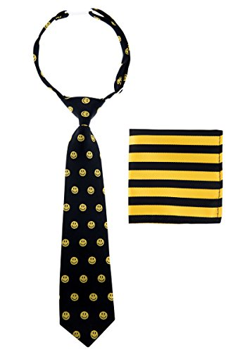 Canacana Smiley Emoji Woven Microfiber Pre-tied Boy's Tie with Stripes Pocket Square Gift Box Set - Black and Yellow - 4 - 7 years, Christmas gift
