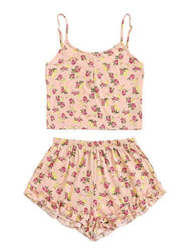 (SheIn Women's Floral Print Cami Crop Top and Shorts Pajamas Set X-Small Pink)