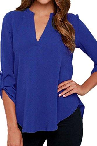 Chase Secret para mujer V cuello blusas sólido suelto Casual con manga Top Azul