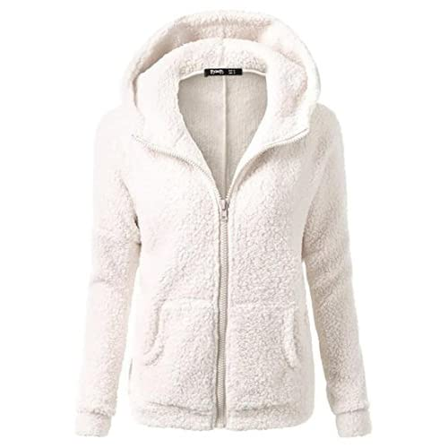 Cruiize Womens Hooded Slim Fleece Winter Zipper Outer Sweatshirt Jacket