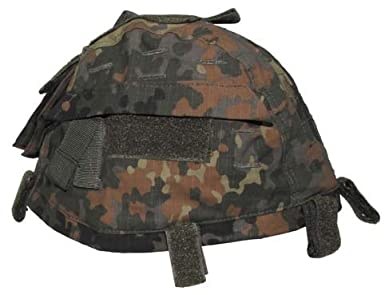 MFH Gr/össenverstelbarer Helmbezug mit Taschen Helm Bezug Tarnbezug Cover f/ür Stahlhelm Camo Camouflage viele Farben
