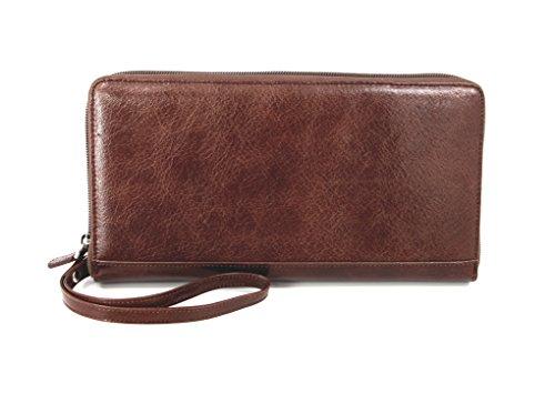 myBitti Zip-Around Passport Wallet Executive Boarding Pass Holder Brown