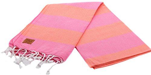 Gold Case Hades 100% Cotton pestemal - Bath & Beach Multi-Purpose Turkish Towel/Throw - 39x70(100x180cm) Peshtemal, Orange_Pink -