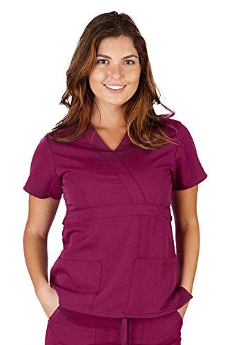 Ultra Soft Brand Scrubs - Premium Womens Junior Fit 3 Pocket Mock Wrap Scrub Top, Burgundy 36144-X-Small
