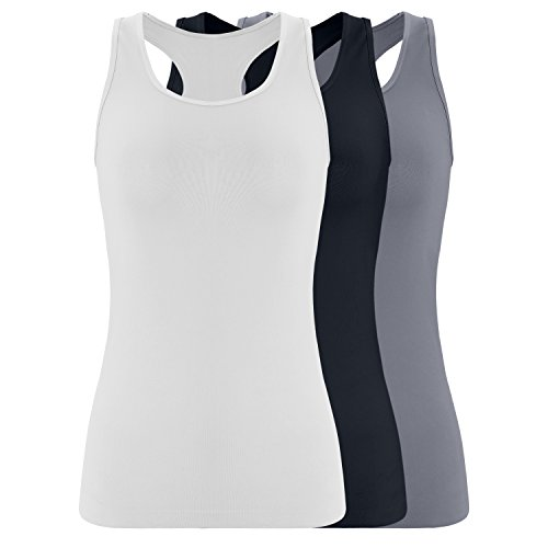 Deep Touch Women's Seamless Racerback Tank Top Casual Base Layer Comfy Crew Neck Tops Multi Color Pack of 3 L/XL-White, Navy, Grey