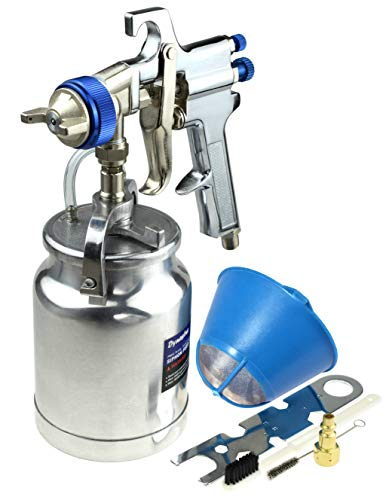 Dynastus 33 oz Siphon Feed Spray Gun - 2.5mm Nozzle for Spraying Oil-Based or Latex Paints, with Filtering and Cleaning Kits