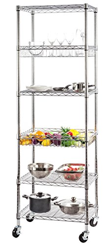 STORAGE MANIAC 6-Tier Steel Wire Shelving Unit, Rolling Storage Rack Organizer with 2 Wire Baskets Wire Basket Shelving