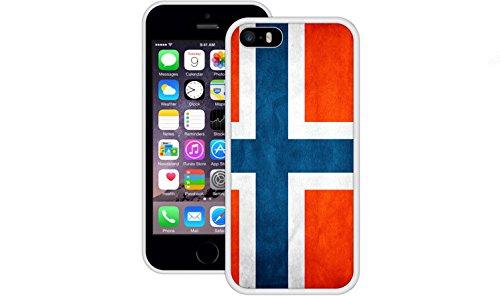 Norwegen Flagge   Handgefertigt   iPhone 5 5s SE   Weiß TPU Hülle