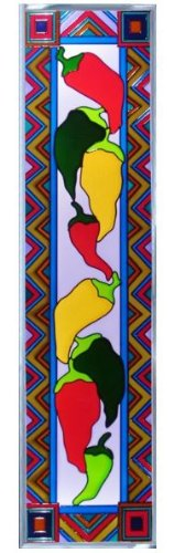 Chili Peppers Vertical Art Glass Panel Wall Hanging Suncatcher 42 x 10
