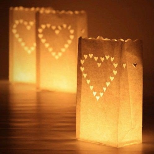 Fascola 20 x Heart Tea light Holder Luminaria Paper Lantern Candle Bag For BBQ Christmas Party Wedding by Fascola
