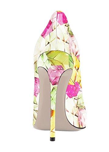 Schuhe für Farbverlauf Zehen Party Frauen Multi Stiletto Hochzeit Spitze Größe Plus Heels Grün Gericht SexyPrey HzqAgwg