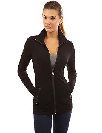 PattyBoutik Women's Collar Pockets Casual Zip Jacket (Black Large 14)