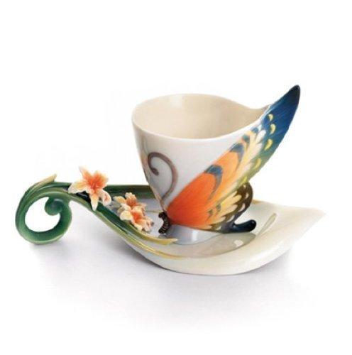 Franz Porcelain Tiger Swallowtail Butterfly Cup,Saucer by Franz