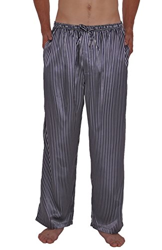 Alexander Del Rossa Mens Satin Pajama Pants, Long Pj Bottoms, 2XL Blue and White Striped (A0757R062X)