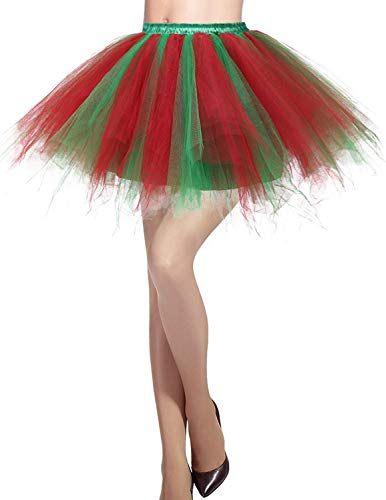MizHome Womens Red Green Tutu Skirt Layered Tulle