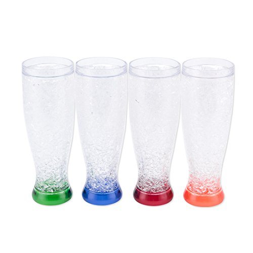 - Freezer Mug Double Wall Gel Beer 15 OZ with Handle Cup Red, Orange, Blue, Green 4 Set for Party (450ml (higher))