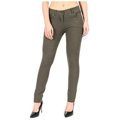 FASHIONCHIC Pitillo Formal color Tamaño disponible 18 Caqui Curvy Pantalones Elástico Colores 26 Con Ajustado Mujer Plus Cremallera Liso Jeggings 8 De wrAIrg