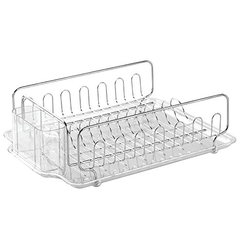 Stainless Steel Dish Strainer (InterDesign Forma Kitchen Dish Drying Rack with Tray – Drainer for Drying Glasses, Silverware and Dishes, Clear/Stainless Steel)