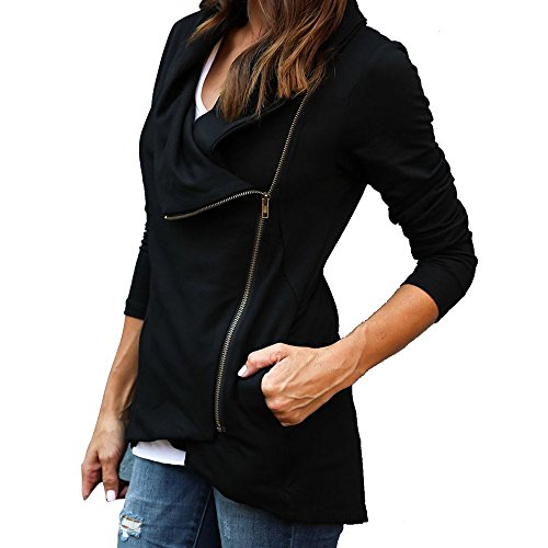 Womens Side Zip Drape Front Open Cardigan Long Sleeve Irregular Hem Cowl Neck Plain Jacket (Black, S) - Quilted Side Zip Coat