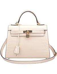 Womens Padlock Crocodile Embossed Patent Leather Shoulder Handbags