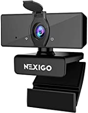 2021 [Upgraded] 1080P Webcam with Microphone & Privacy Cover, NexiGo USB FHD Web Camera, Plug and Play, Noise Reduction, for Zoom Skype MS Teams Online Teaching, Laptop MAC PC Desktop