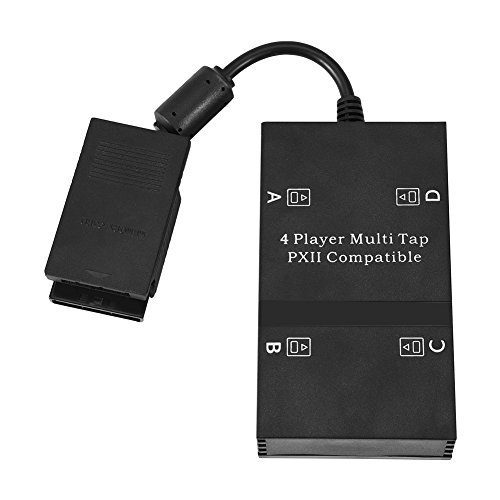 (Bewinner Multitap for PS2 Controller Adapter, Multi tap Multiplayer Game Adapter for Playstation PS2 with 4 Plugs 4 Players and 4 Memory Slots)