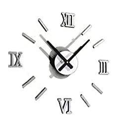 Hot Sale! Fashion Chic DIY Silver Vintage Roman Numeral Number Frameless Wall Clock 3D Home Decor (Silver)