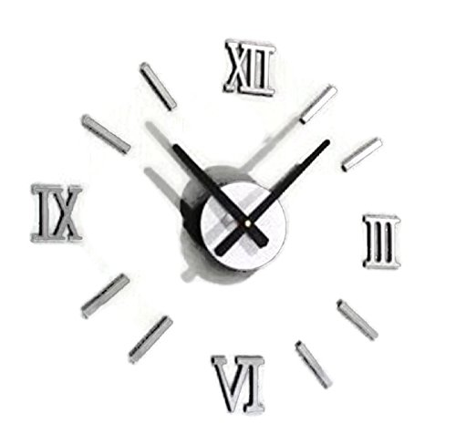 Hot Sale! Fashion Chic DIY Silver Vintage Roman Numeral Number Frameless Wall Clock 3D Home Decor - 5.00 Fashion