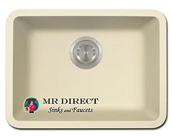 beige granite quartz composite undermount kitchen sink beige granite quartz composite undermount kitchen sink   single      rh   amazon com