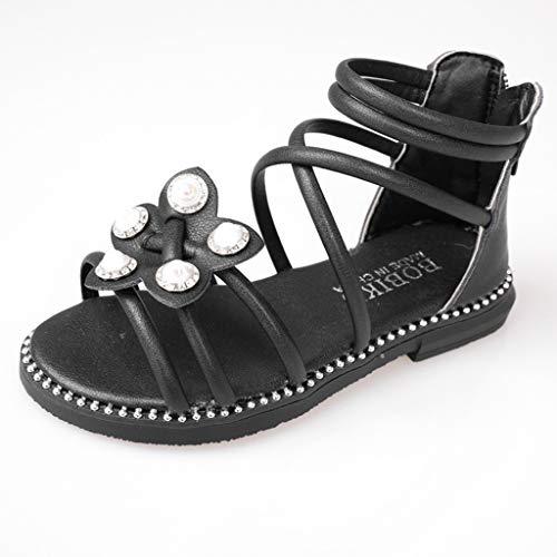 Respctful✿ler Girl Rhinestone Dress Sandals Open Toe Beach Sandals Princess Flats Sandals ()
