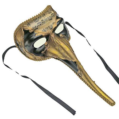 (Resin Venetian Masquerade Mask Mens Long Nose Beak Music Note Mardi Gras Carnival Decorative Art (Black Gold))