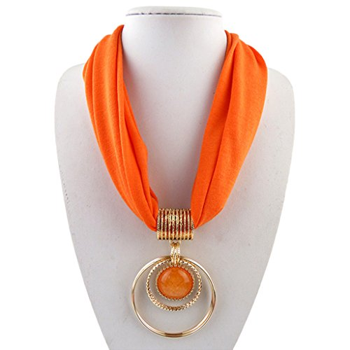 - Ladaidra Short Scarf Alloy Vintage Faux Crystal Hoops Pendant Collar Chain Necklace Soft (Orange)