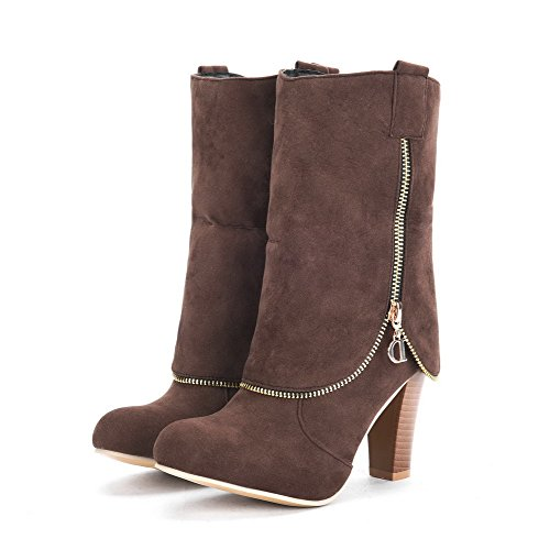 AllhqFashion Womens Pull-On High-Heels Flock Solid Low-Top Boots Brown URfMc