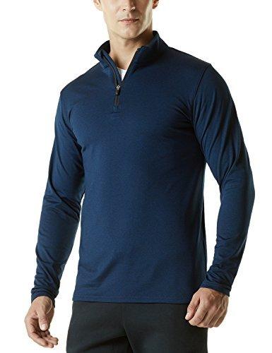 Thermal Zip 1/4 (TSLA TM-YKZ01-NVY_Large Men's Winterwear Sporty Slim Fit 1/4 Zip Fleece Lining Sweatshirt YKZ01)