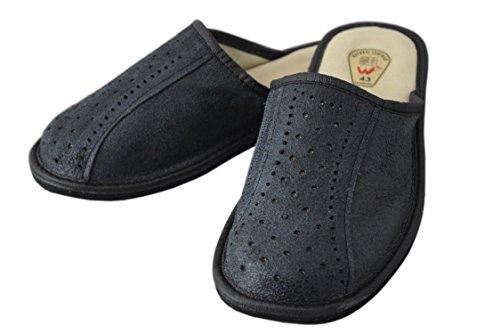 Black Naturleder Schwarz 40 für Größe 2 Pantoletten Hausschuhe aus Herren UFpFRw