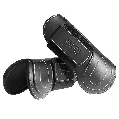Tekna Velcro Double Hook and Loop Closure Open Front Jumping Horse Boots, Black, Medium (Horse)