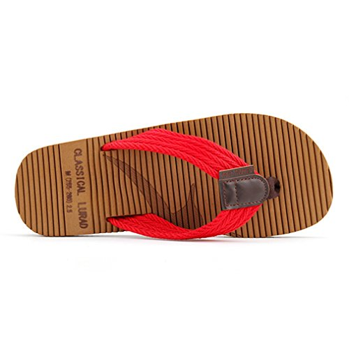 Beach Thongs Flops Comfort Men's Sandals Sole EVA Non Slip Red Flip Lightweight TBq1xqg