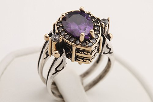 Turkish Jewelry Handmade Reversible 2 rings in 1 ring Drop Shape Pear Cut Shiny Amethyst and Black Onyx Topaz 925 Sterling Silver Ring Size All