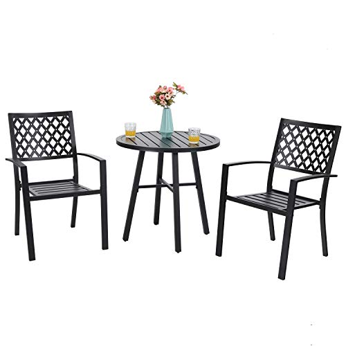 PHIVILLA Metal 3 Piece Patio Bistro Table Outdoor Dining Furniture Set with 2 Chairs, 1 Round Table