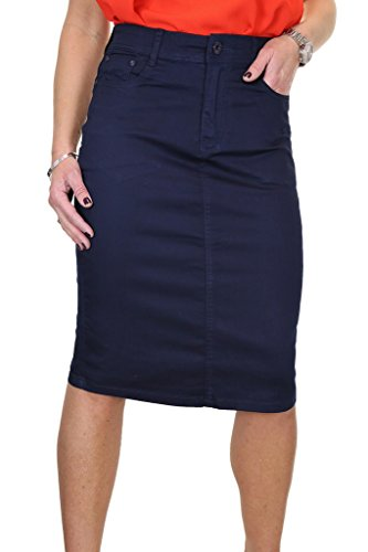 Chinos pour en Jeans Jupe Ice Marine Style Extensible Grande Brillant 2516 Bleu Taille 8w0wEt5q