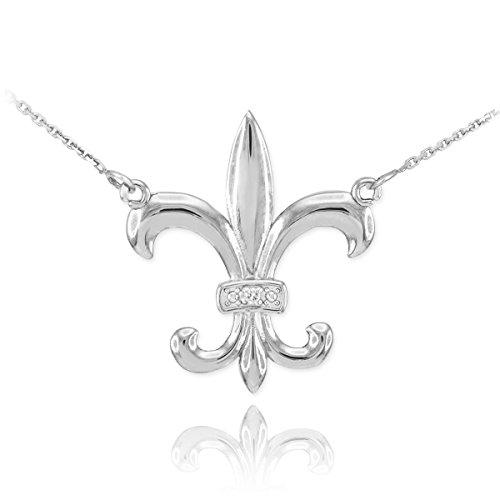 [14k White Gold Diamond-Accented Fleur-de-Lis Pendant Necklace, 20