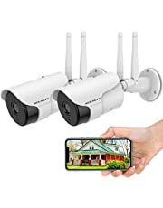 [2 PCS AI 3.0MP Two Way Audio] Outdoor Security Camera, 3.0MP IP Bullet Waterproof Wireless Surveillance Camera, WiFi House Exterior Cameras with Two-Way Audio, Night Vision, Smartphone Compatible, Motion Detection (2 Pack)