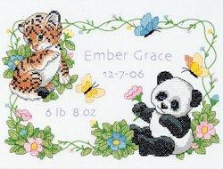 Brand New Baby Hugs Baby Animals Birth Record Stamped Cross Stitch Kit-12