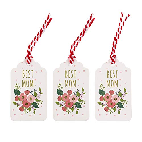 WRAPAHOLIC Mother's Day Gift Tags - 100PCS White Best Mom Floral Paper Tags with 100 Feet String for Mother's Day Moms Birthday