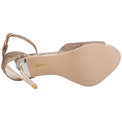 """Unze Las mujeres """"Caroline"""" Glitter Tobillo bajo medio alto talón parte Prom llegar juntos una noche de Carnaval sandalias de tacón UK tamaño 3-8 Gold"""